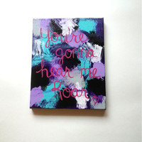 You're gonna hear me roar acrylic canvas painting for trendy girls room or home decor