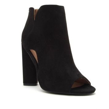 Lyra Black Suede Open Toe Booties