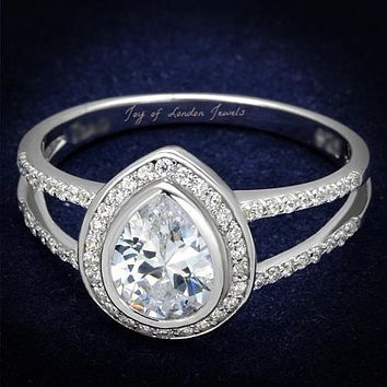 2CT Pear Cut Halo Russian Lab Diamond Engagement Ring with Split Shank