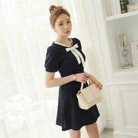 Ribbon Accent Short Sleeve A-Line Dress