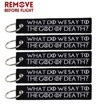 Cool 5PCS Letter Black Keychain Embroidery Key Ring llavero WHAT DO WE SAY TO THE GOD OF DEATH for Motorcycle Key Chain Chaveiro