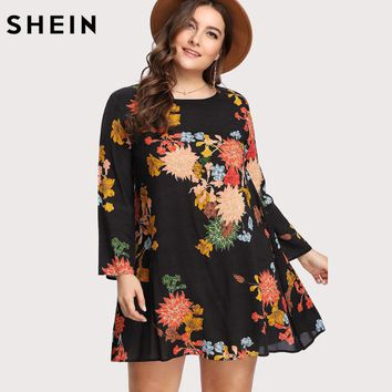 SHEIN Spring Plus Size Flower Print Dress Swing Tunic Women Dresses Large Sizes Floral Long Sleeve Vacation Summer Dress