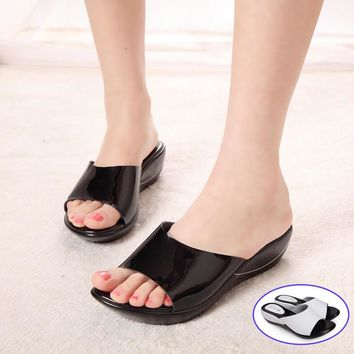 2016 Summer women sandals genuine leather casual Wedges Platform women slides shoes fo