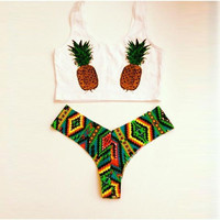 Pineapple Pattern Swimwear Set Push-up Beach Wear Two Pieces Swimwear