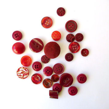 Vintage Buttons - Red and Purple - 28 several sizes and tones - assorted