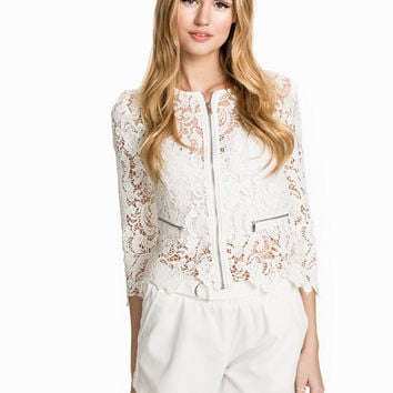 White Crochet Lace Sleeve Zippered Cardigan