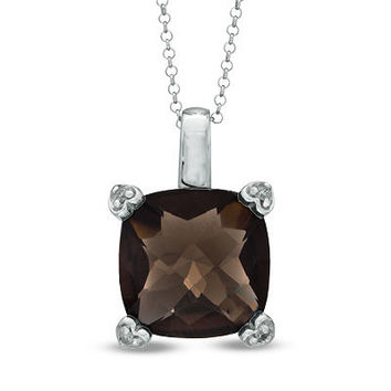 12.0mm Cushion-Cut Smoky Quartz and Diamond Accent Pendant in Sterling Silver - Clearance - Zales