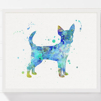 Blue Chihuahua Painting, Chihuahua Art Print, Watercolor Chihuahua, Dog Art Print, Dog Wall Art, Dog Wall Decor, Dog Lover Gift