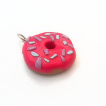 Charm ~ Donut with Pink Icing and Sprinkles ~ Polymer Clay Charm ~ Necklace Charm ~ Bracelet Charm ~ Inedible Art ~ Made to Order