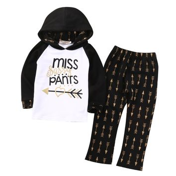 Girls Arrow Hooded letter printed Tops +Long Pants Outfits