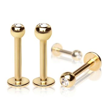 Gold Plated Over 316L Surgical Steel Labret with Gemmed Ball