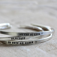 Personalized Silver Cuffs Brass, Silver or Gold Custom Bracelets