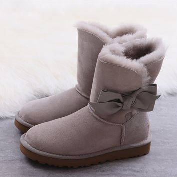 Ugg winter women's bow-knot long boots gray shoes