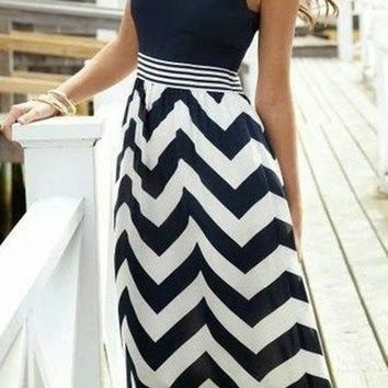 Black Wave Striped Patchwork Pleated Boho Sleeveless Evening Party Beach Maxi Dress