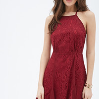 Mesh-Paneled Lace Dress