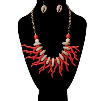 Colored Cowrie Shell Necklace Set