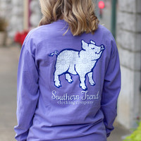 Silver Shimmer Proud Pig Long Sleeve Tee {Violet}