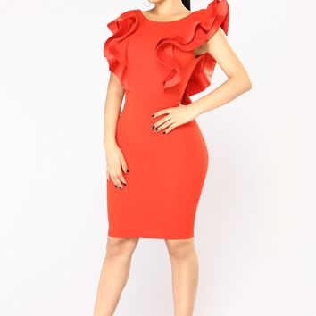 Crimson And Clover Midi Dress - Red