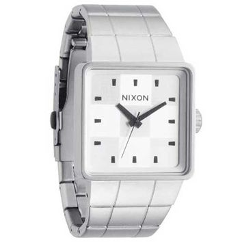 Nixon A0131166 Men's Quatro Stainless Steel White Checker Dial Quartz Watch