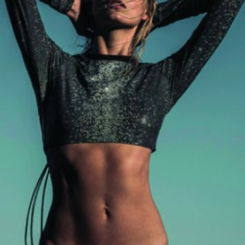 CROPPED RASH GUARD-BLACK SHAGREEN