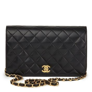 CHANEL BLACK QUILTED LAMBSKIN VINTAGE SMALL CLASSIC SINGLE FULL FLAP BAG HB1711