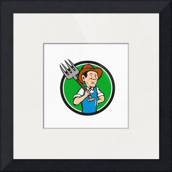 """Farmer Pitchfork On Shoulder Circle Cartoon"" by Aloysius Patrimonio"