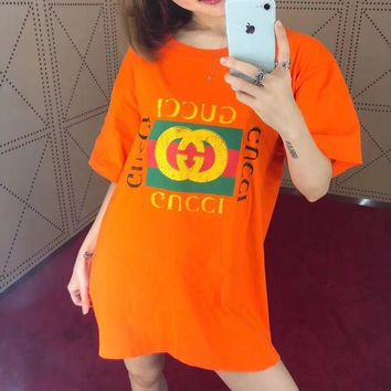"""""""Gucci"""" Unisex Casual Classic Letter Logo Print Couple Short Sleeve T-shirt Top Tee"""