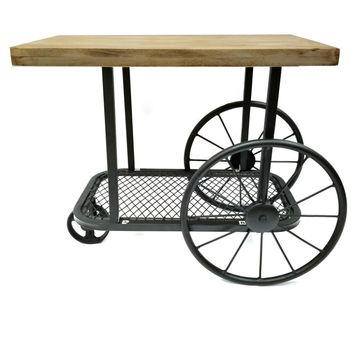 Industrial Design End Table With Wooden Top And Metal Wheels Base, Sand Black By Benzara