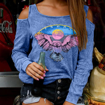 Cold Shoulder Autumn Tops Fashion Print T-shirt Sexy Long Sleeved Femme Tee Tops