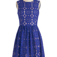 ModCloth Mid-length Sleeveless A-line Outdoor Arpeggios Dress in Royal Blue