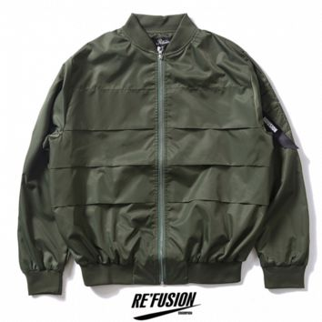Retro leisure tide brand men 's air force flight jacket solid motorcycle baseball jacket Dark green