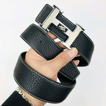 Hermes New fashion H letter buckle leather texture couple Black