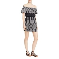 Aqua Womens Embroidered Off-the-Shoulder Casual Dress
