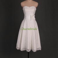 white lace sweetheart bridesmaid dresses with flower simple tea length bridesmaid gowns hot elegant girls dress for wedding party