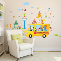 Cartoon Animals School Bus Wall Stickers For Kids Rooms Panda Monkey Giraffee Turtle Nursery Room Decor Art Wall Decal Poster SM6