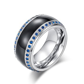 Blue Stones Men Wedding Alliance Ring Black Gold Color Titanium Ring Vintage Punk Stainless Steel with 2 Circles Zirconia Ring