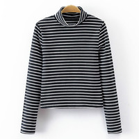 Black Turtleneck Striped Stretchy Sweater