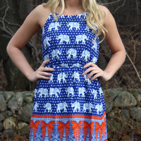 Marching Elephants Dress - Blue