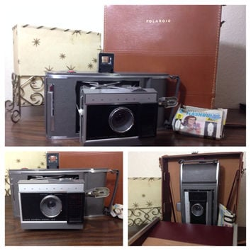 ON SALE Mid Century Polaroid J66 Land Camera with Case & Bulbs vintage camera instant camera