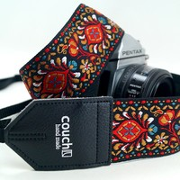 "Vintage Style Hippy ""Hendrix"" Camera Strap Made with Recycled Seatbelt - Camera Straps"