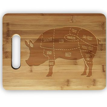 Pork Pig Meat Map Laser Engraved Bamboo Cutting Board - Wedding, Housewarming, Anniversary, Birthday, Holiday, Gift