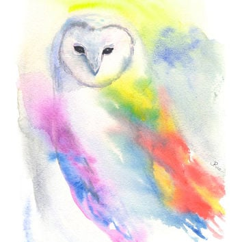 Watercolor Owl, Barn Owl, Colorful Owl, Owl Painting, Owl Art, Rainbow, Bird Watercolor, Owl Print, 8x10, Nature, Bird Painting, Home Decor