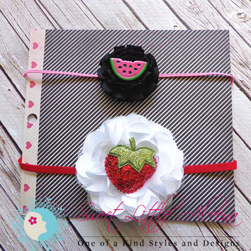 Summer Headband Set  - Watermelon Strawberry Headband - Fruit Headbands - Newborn Girl Headbands - Baby Hair Bows - Toddler Hair Clip