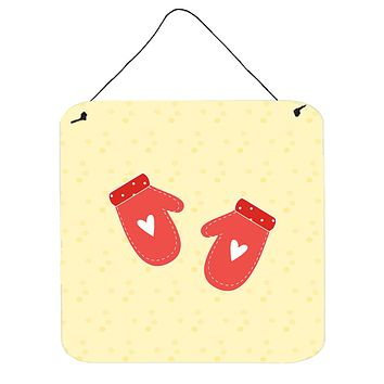 Oven Mitts on Yellow Wall or Door Hanging Prints BB7282DS66