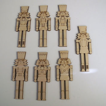 Nutcracker, 7 Piece Set, Laser Cut and Etched, Christmas Decorations, Holiday Home Decor, Christmas Ornaments, Ready to Paint Wood Shapes