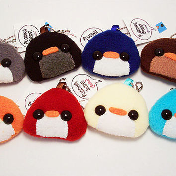 Pudding Bird Plushie Keychain kawaii stuffed toy bag by quacked
