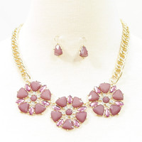 Three Floral purple glass chain necklace with matching earrings