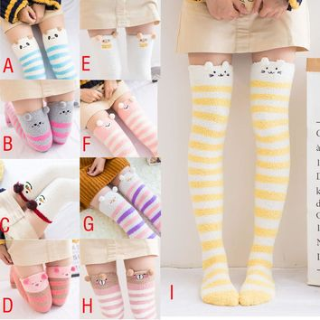 Women Winter Cartoon Over Knee Long Boot Thigh-High Warm Socks Leggings