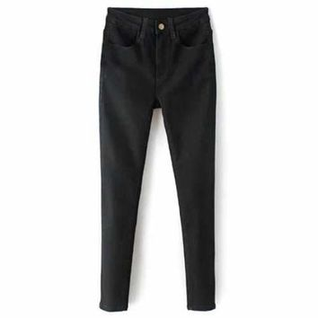 Zip Fly High Waisted Black Skinny Jeans - Black M