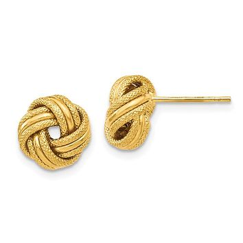 8.5mm (5/16 in) 14k Yellow Gold Polished & Textured Love Knot Earrings